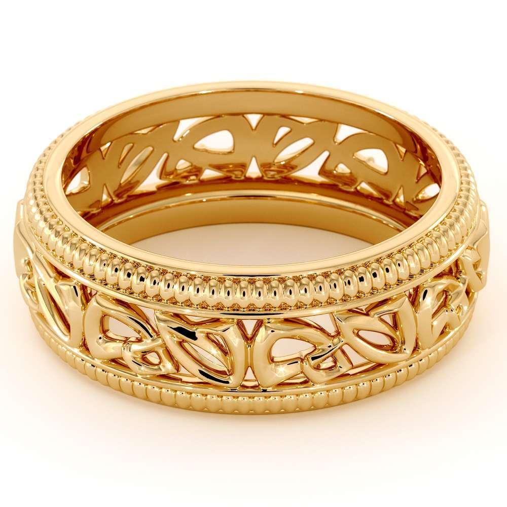 Wedding Band For Men-14K Yellow Gold Handmade Wedding Band-Vintage Wedding Ring