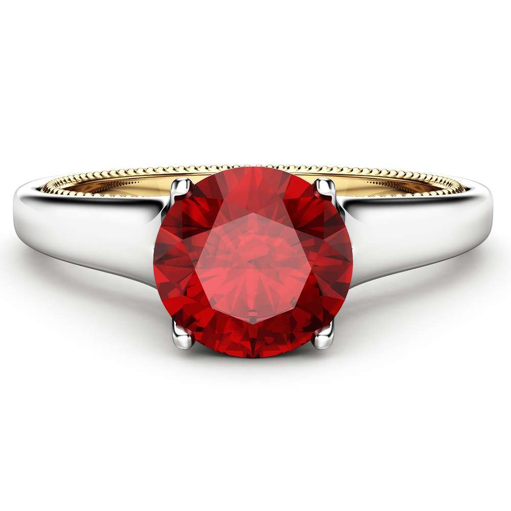 Unique Ruby Engagement Ring Milgrain Engagement Ring White & Yellow Gold Ring