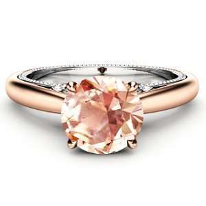 Peach Sapphire Engagement Ring Classic Engagement Ring 14K Rose & White Gold Ring