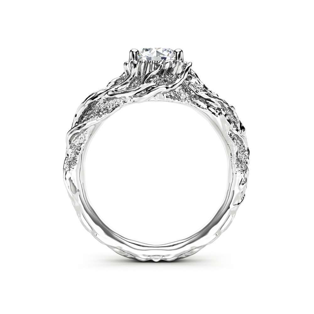 Moissanite Branch Engagement Ring White Gold Twig Ring Nature handmade Ring