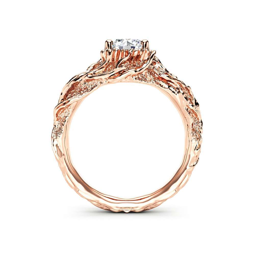Moissanite Branch Engagement Ring Rose Gold Twig Ring Nature handmade Ring