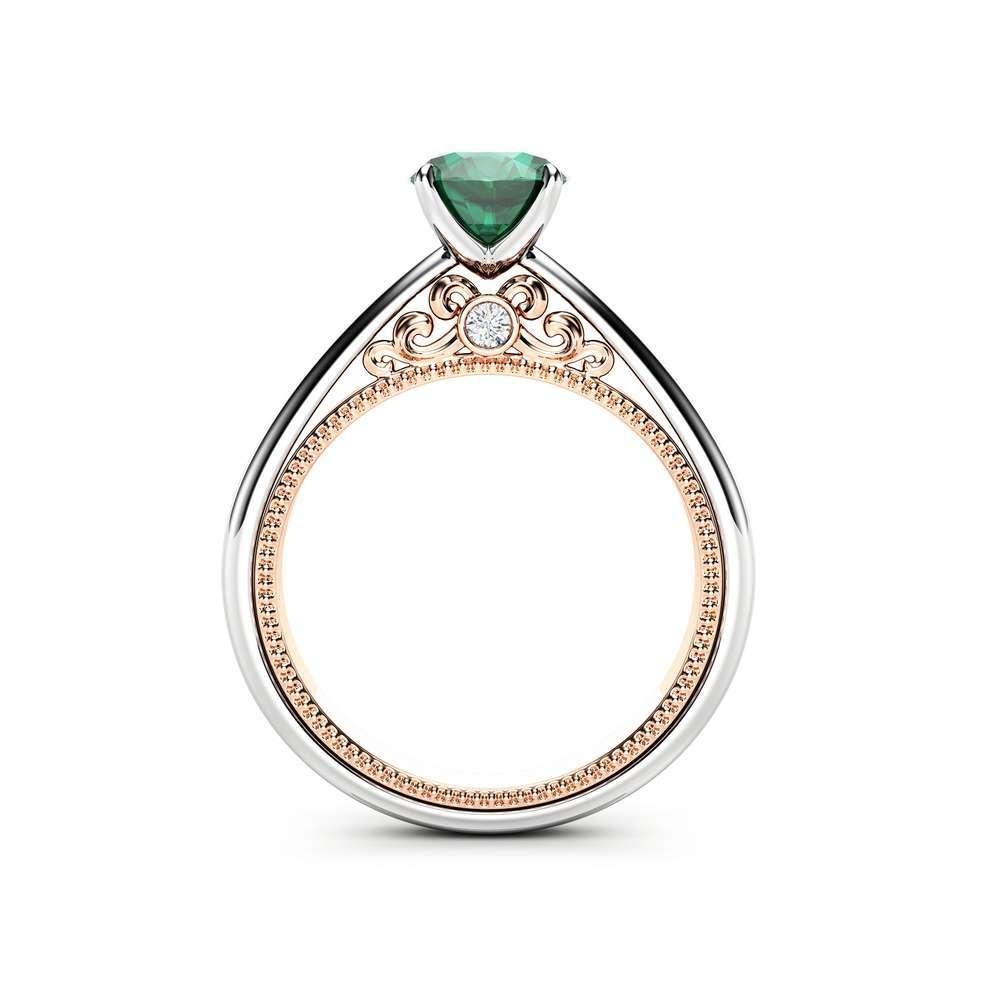 Unique Emerald Engagement Ring Classic Milgrain Engagement Ring 14K Two Tone Gold Ring