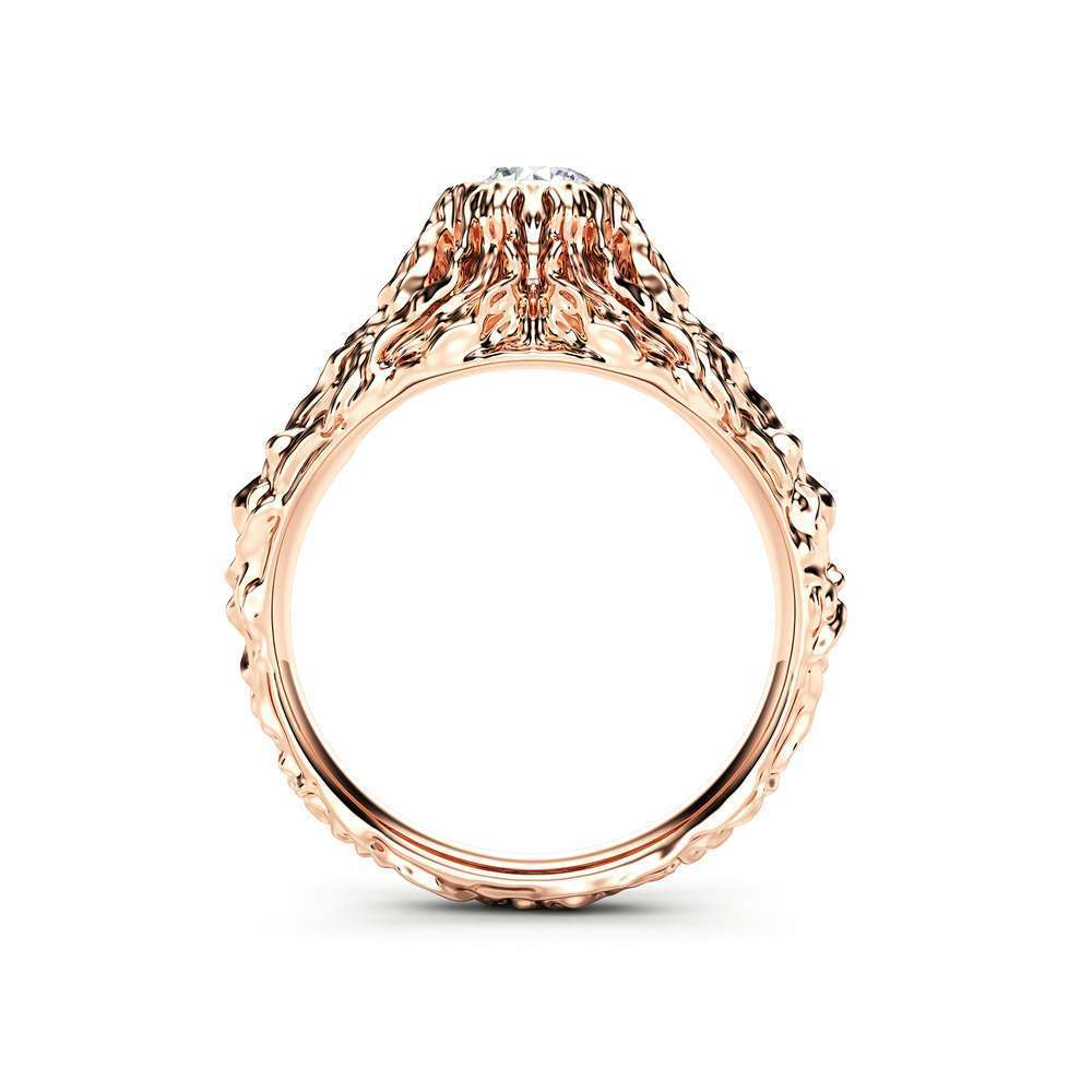 Moissanite Twig Engagement Ring Rose Gold Branch Ring Nature Handmade Ring