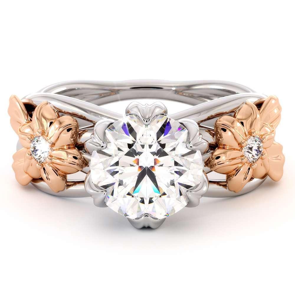 Moissanite Flowers Engagement Ring 14K White & Rose Gold Flower Engagement Ring Forever One Moissanite Ring