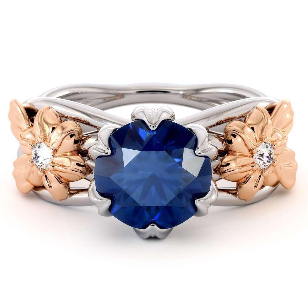 sapphire Flowers Engagement Ring-2 Carat Blue Sapphire-14K White & Rose Gold Flower Engagement Ring