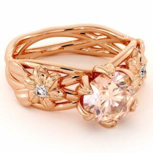 Morganite Flowers Engagement Ring-2 Carat Light Pink Morganite-14K Rose Gold Flower Engagement Ring