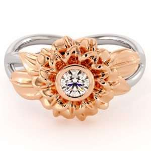 Unique Sunflower Engagement Ring Natural Diamond 14K Gold Ring flower personalized ring