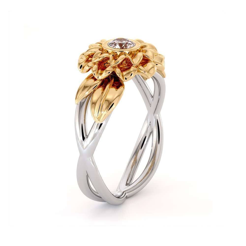 Unique Sunflower Engagement Ring Natural Diamond 14K Yellow Gold Ring flower personalized ring