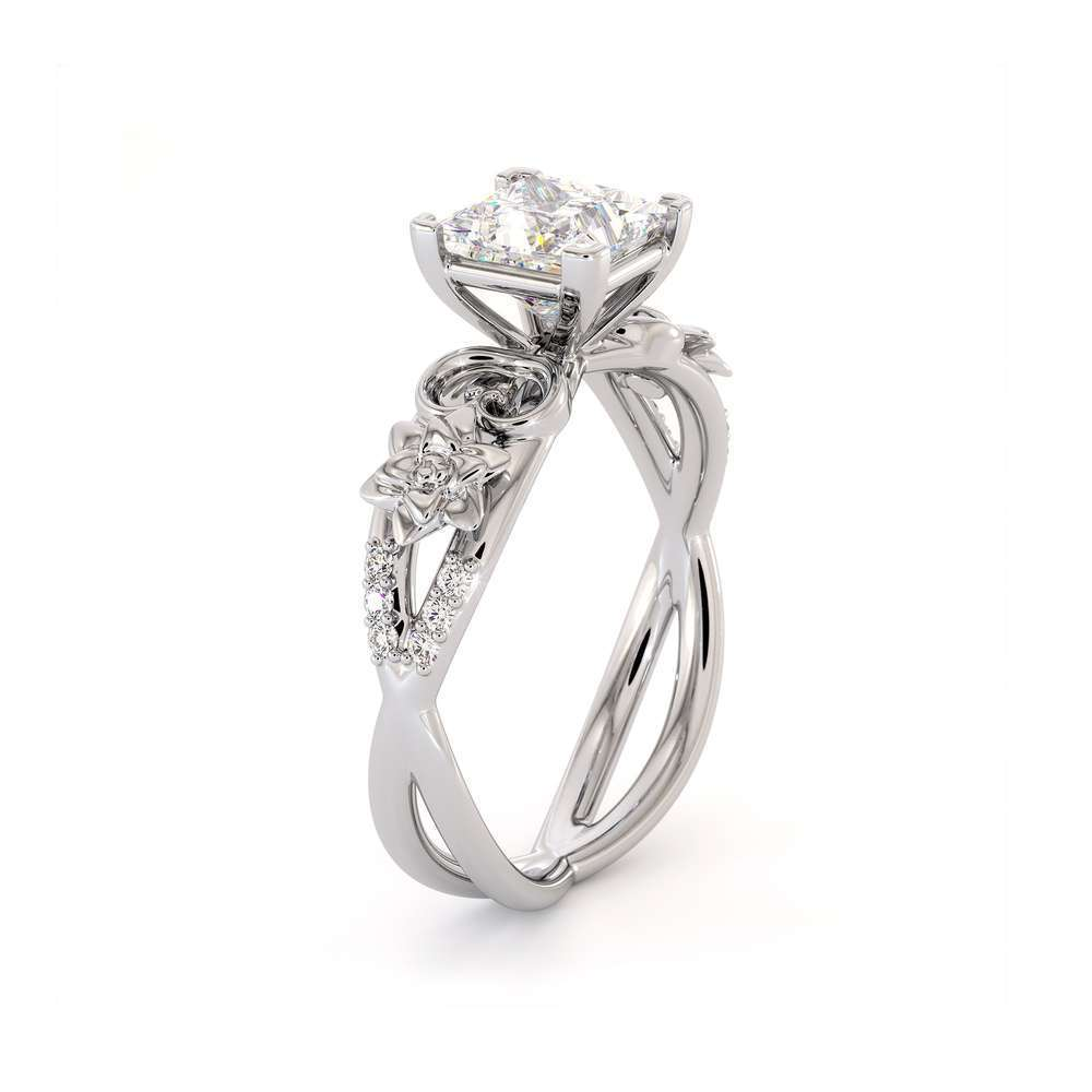Moissanite Engagement Ring-Promise Ring-Princess Cut Forever One-White Gold Wedding Band-Anniversary Ring