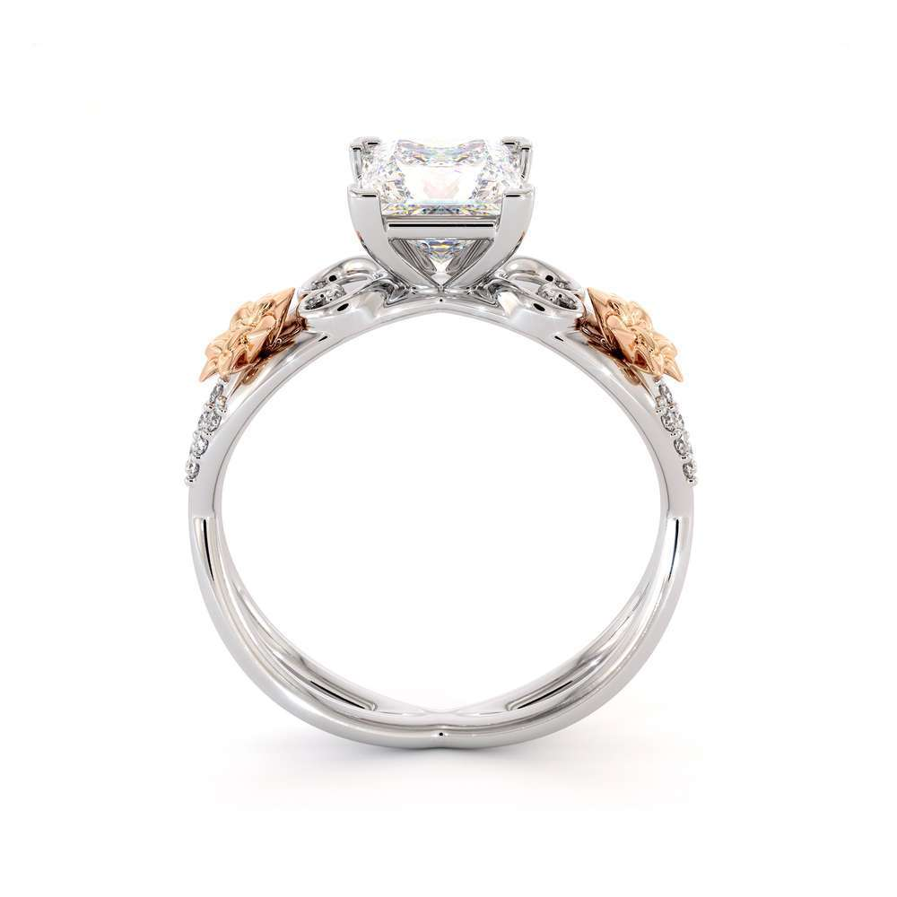 Moissanite Engagement Ring-Promise Ring Princess Cut Forever One-Two Tone Gold Wedding Band-Anniversary Ring