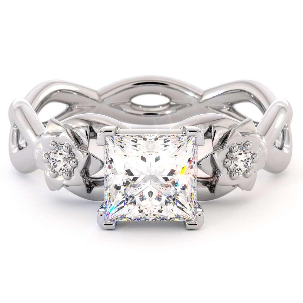 14K White Gold Engagement Ring Moissanite Princess Engagement Ring Forever One Moissanite