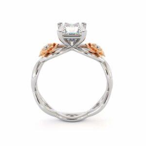 14K White & Rose Gold Engagement Ring Moissanite Princess Engagement Ring Forever One Moissanite