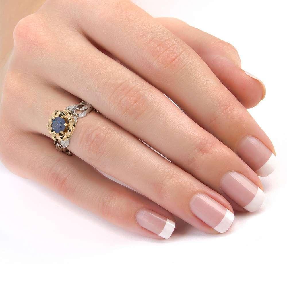 Lotus Flower Engagement RIng Sapphire Engagement Ring 14K White & Yellow Gold Nature Inspired Ring