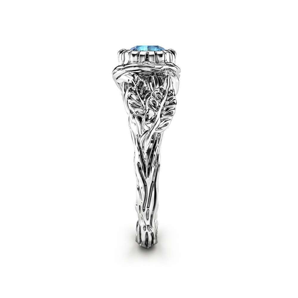 Blue Diamond Leaf Engagement Ring White Gold Branch Ring Nature handmade Ring