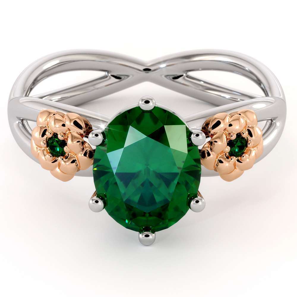 Oval Cut Emerald Engagement Ring 14K White Gold & Rose Flowers Engagement Ring Wedding Gift Ring