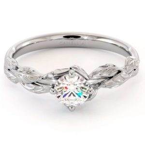 CVD Diamond Engagement Ring 14K White Gold Leaf Flower Ring Lab Grown Diamond Ring
