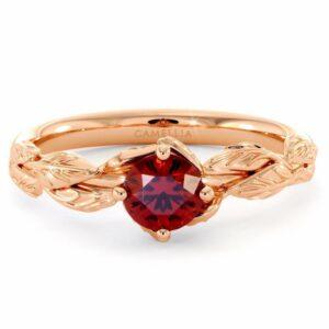 Natural Ruby Engagement Ring 14K Rose Gold Ring Ruby Petal Leaf Engagement Ring July Birthstone