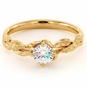 CVD Diamond Engagement Ring 14K Yellow Gold Leaf Flower Ring Lab Grown Diamond Ring