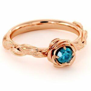 Diamond Engagement Ring Blue Diamond Flower Engagement Ring Rose Gold Leaf Ring Solitaire Diamond Ring