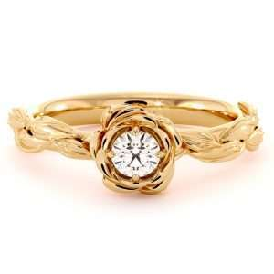 Diamond Engagement Ring Diamond Flower Engagement Ring Yellow Gold Leaf Ring Solitaire Diamond Ring