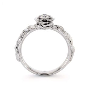 Diamond Engagement Ring Diamond Flower Engagement Ring White Gold Leaf Ring Solitaire Diamond Ring