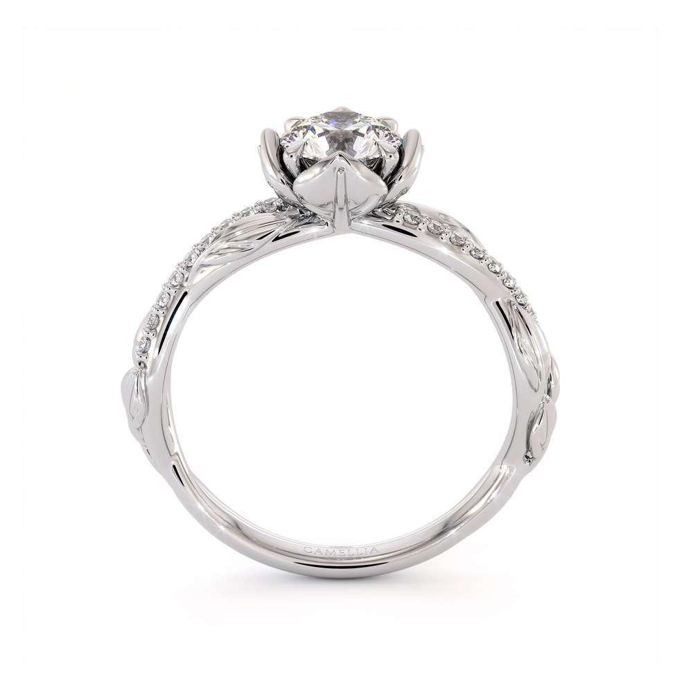CVD Diamond Half Eternity Ring Flower Engagement Ring Lab Grown Diamond Ring