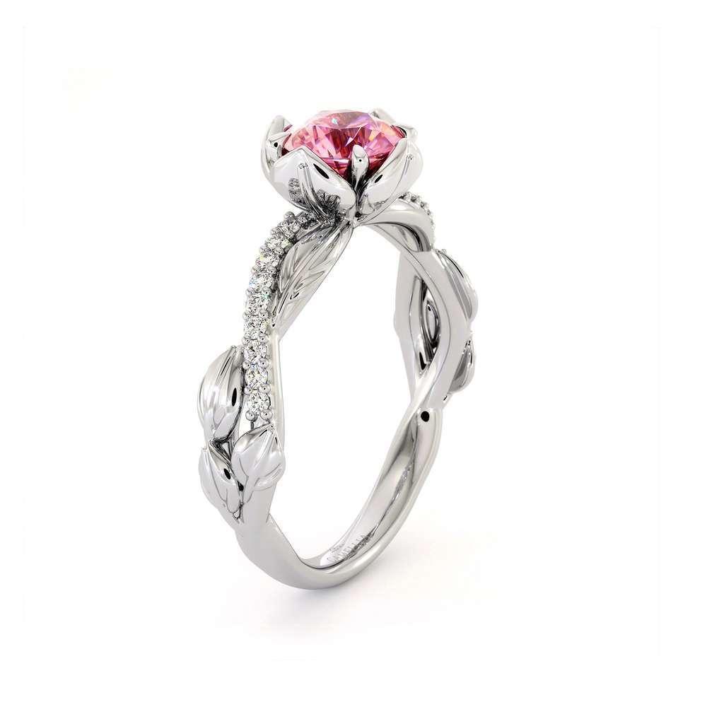 CVD Diamond Half Eternity Ring Flower Engagement Ring Lab Grown Pink Diamond Ring
