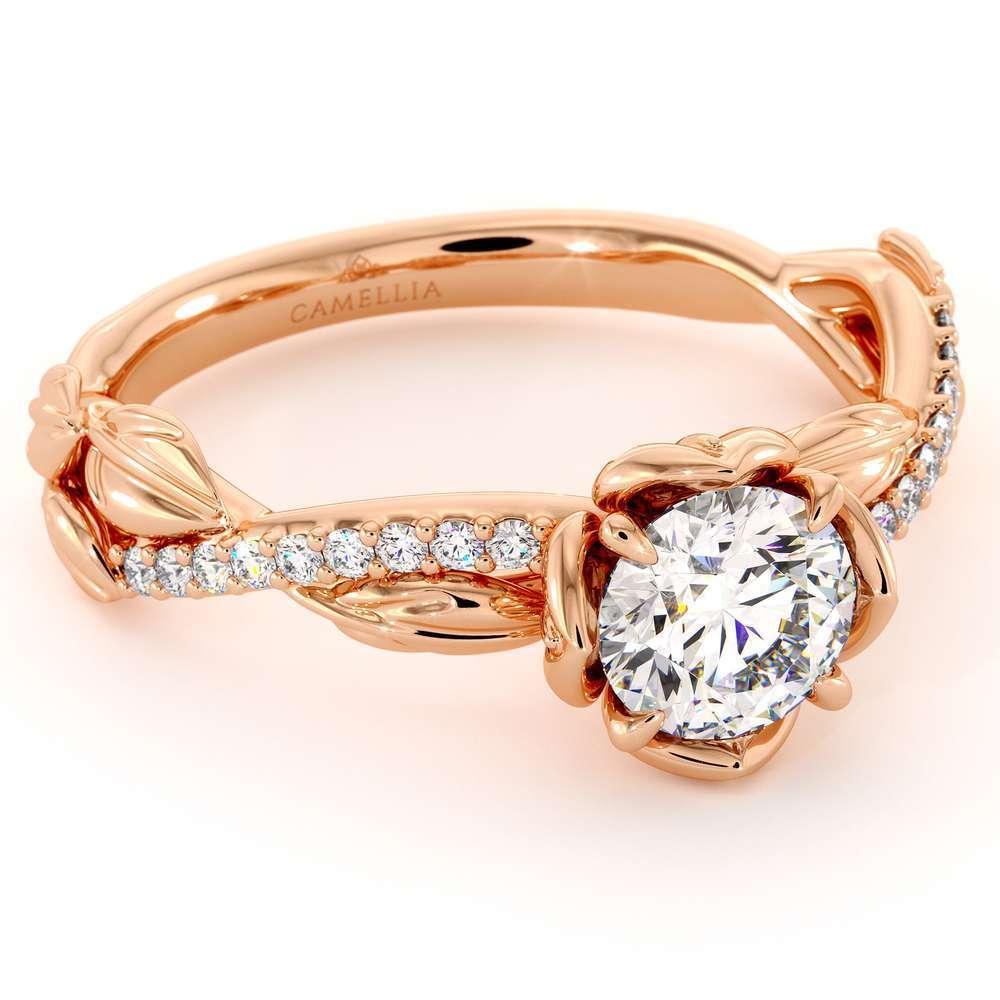 14K Rose Gold CVD Diamond Half Eternity Ring Flower Engagement Ring Lab Grown Diamond Ring