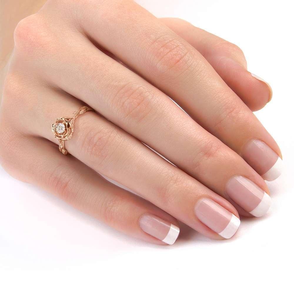 Diamond Engagement Ring Flower Engagement Ring Rose Gold Leaves Ring Solitaire Diamond Ring