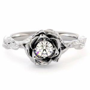 Diamond Engagement Ring Flower Engagement Ring White Gold Leaves Ring Solitaire Diamond Ring