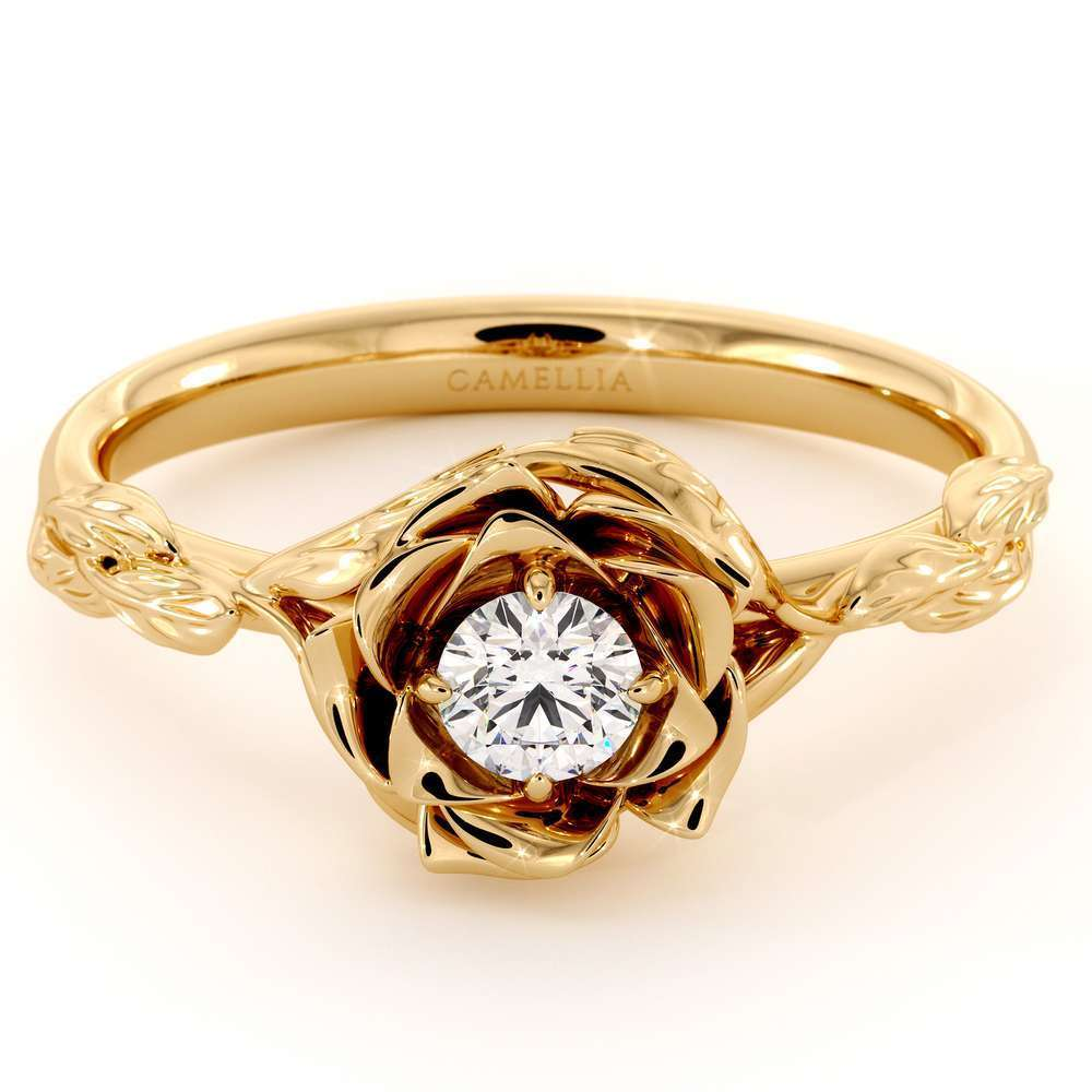 Diamond Engagement Ring Flower Engagement Ring Yellow Gold Leaves Ring Solitaire Diamond Ring
