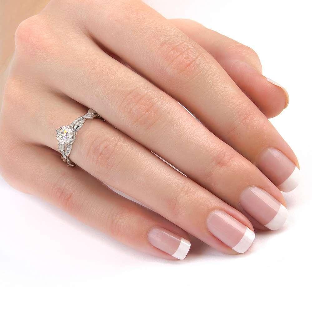 Moissanite Engagement Ring 14K White Gold Ring Twisting Leaves Engagement Ring