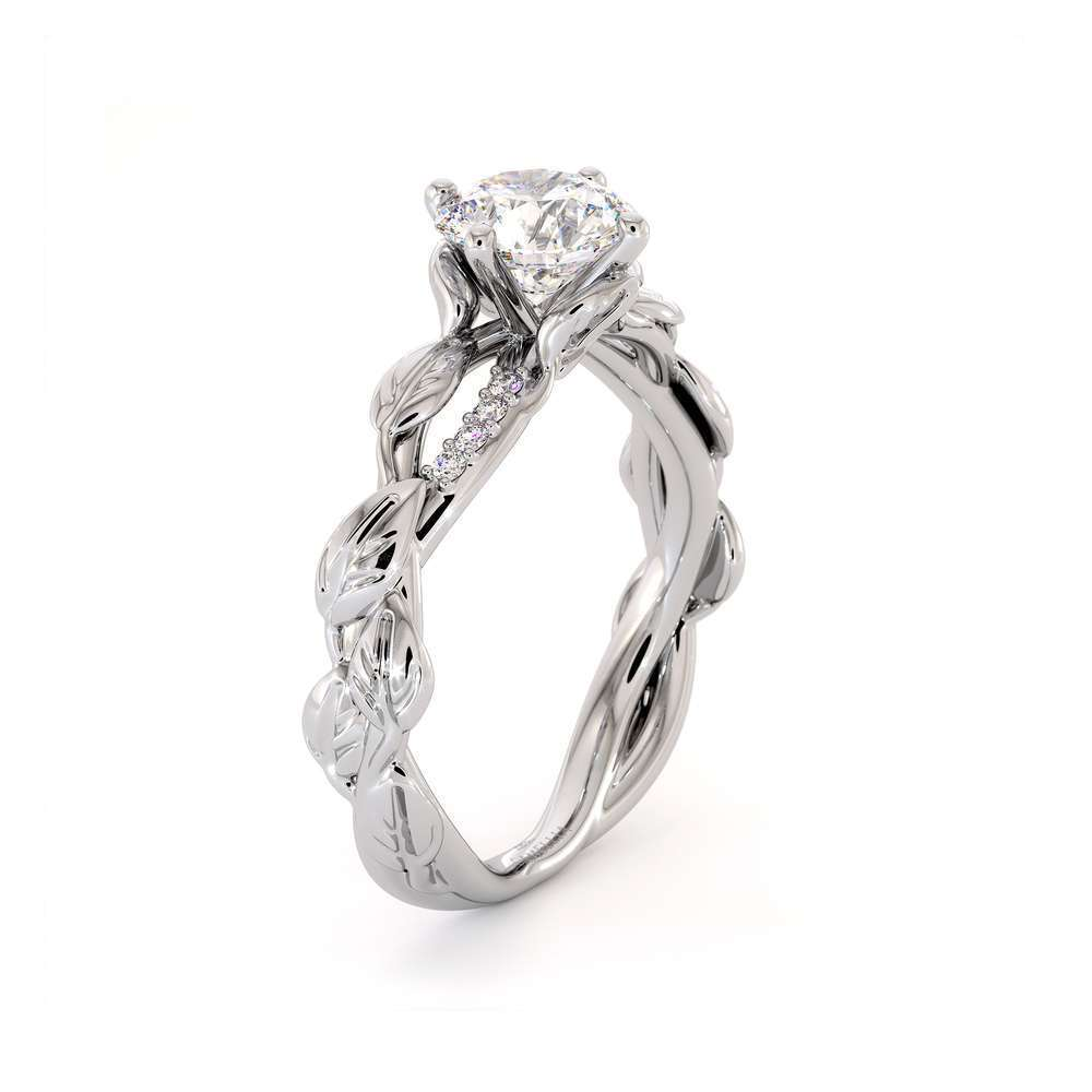 Moissanite Engagement Ring 14K White Gold Ring Twisting Leaves Engagement Ring