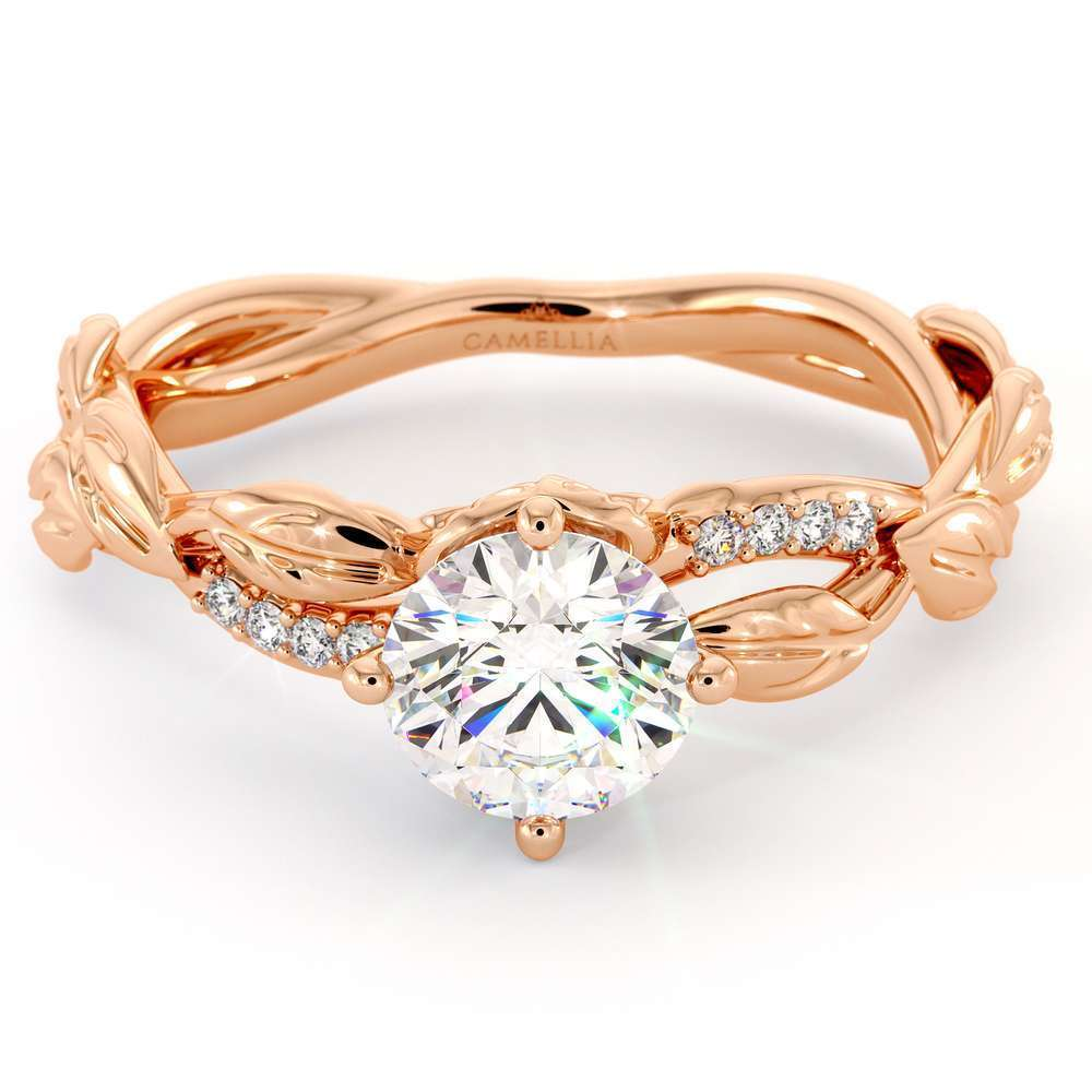 Moissanite Engagement Ring 14K Rose Gold Ring Twisting Leaves Engagement Ring