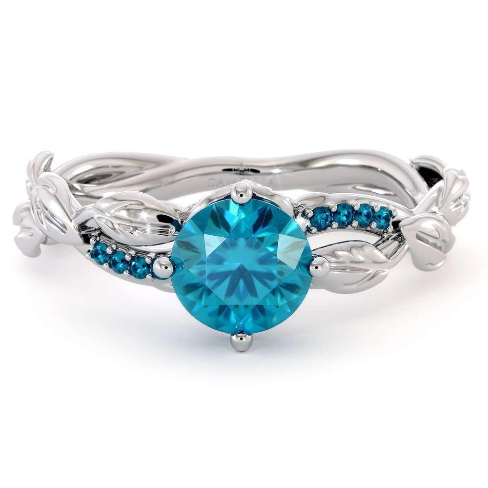 Unique Blue Diamond Engagement Ring 14K White Gold Ring Twisting Leaves Engagement Ring