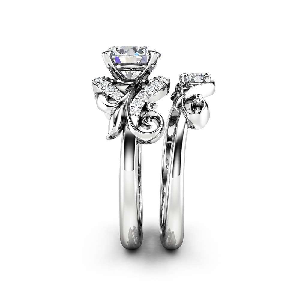 Moissanite Engagement Ring Set 14K White Gold Matching Rings Leaf Engagement Rings