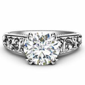 Moissanite Engagement Ring 14K White Gold Solitaire Ring Unique Miligrain Ring Anniversary Gift