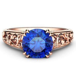 Blue Sapphire Engagement Ring Art Deco Solitaire Ring 14K Rose Gold Ring September Birthstone Ring