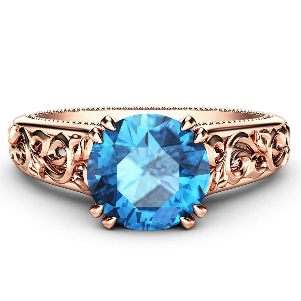 Blue Diamond Engagement Ring 14K Rose Gold Ring Art Deco Diamond Ring Vintage Engagement Ring