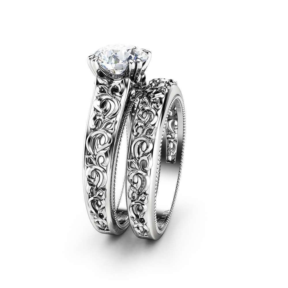 Unique Engagement Ring Set 14K White Gold Moissanite Engagement Ring Art Deco Bridal Set