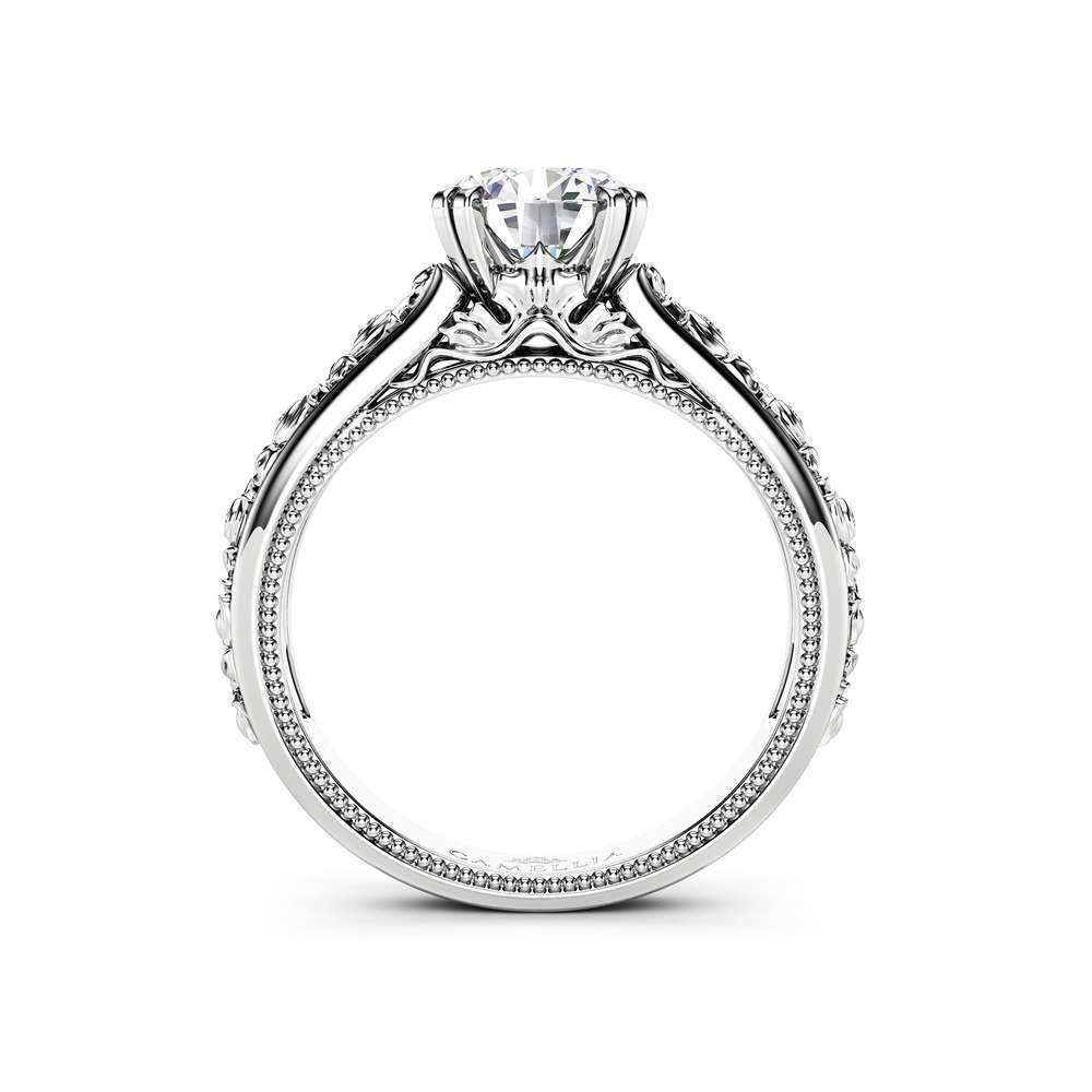 Moissanite Engagement Ring 14K White Gold Ring Unique Art  Deco Diamonds Engagement Ring