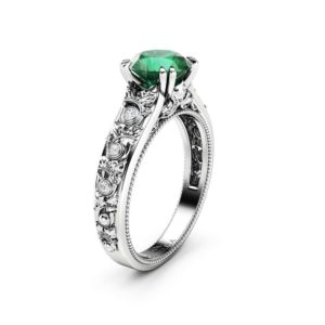 Emerald Engagement Ring 14K White Gold Ring Unique Art Deco Engagement Ring May Birthstone