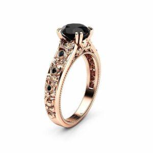 Black Diamond Engagement Ring 14K Rose Gold Ring Unique Art Deco Diamonds Engagement Ring