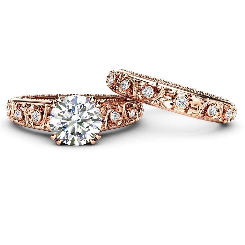 Moissanite Engagement Ring Set Forever One Moissanite Wedding Set 14K Rose Gold Engagement Rings