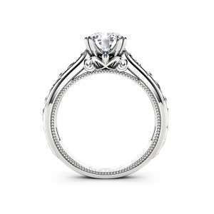 Moissanite Engagement Ring White Gold Ring Unique Art Deco Milgrain Engagement Ring