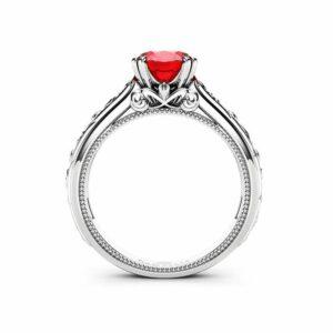 Ruby Engagement Ring White Gold Ring Unique Art Deco Milgrain Engagement Ring