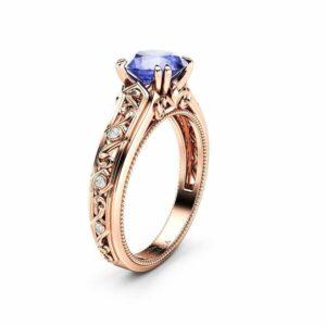 Tanzanite Engagement Ring Rose Gold Ring Unique Art Deco Milgrain Engagement Ring