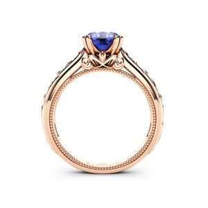 Tanzanite Engagement Ring Rose Gold Ring Unique Art Deco Milgrain Engagement Ring