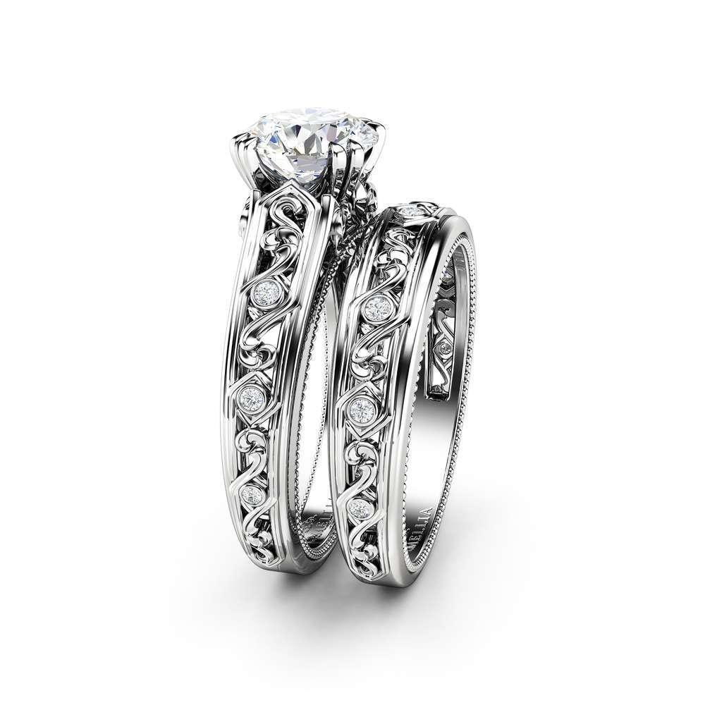 Moissanite Engagement Ring Set 14K White Gold Rings Moissanite Wedding Set Art Deco Bridal Set
