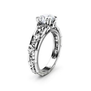 Moissanite Engagement Ring White Gold Solitaire Ring Unique Ring Miligrain Ring Anniversary Gift